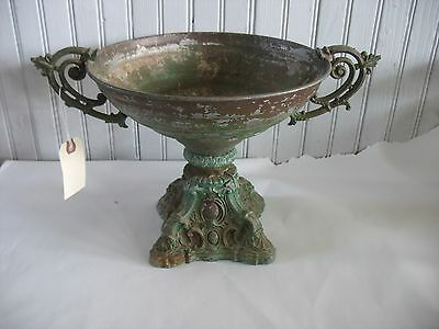 "Antique Victorian Planter Urn Handles Pot metal Table top Centerpiece 9"" tall"