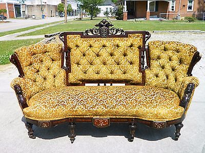 Walnut Victorian Triple Back Sofa Settee w/ Match Stick Inlay and  Carved Heads