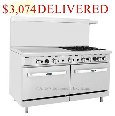 "60"" inch (5 foot) 4 Burner Range Top with Double Ovens & 36"" Left side Griddle"