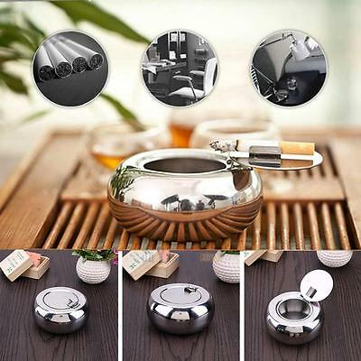 Large Drum Shape Ashtray Stainless Steel Cigarette Cigar Smoking Ash Tray W/ Lid