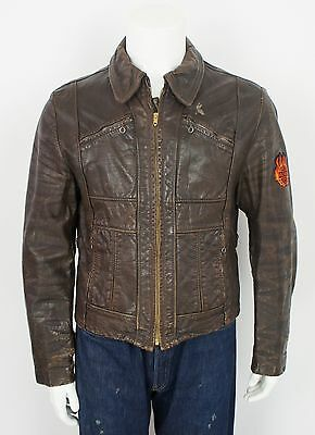 VINTAGE 50's/60's LEATHER MOTORCYCLE JACKET size MEDIUM HARLEY DAVIDSON PATCHES