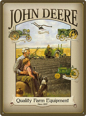 John Deere Grandfather Metal Sign Signboard 3D embossed arched Tin 30 x 40 cm
