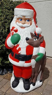 "Blow Mold Santa With Reindeer Rudolph 40"" Tpi Canada Lights Up Xmas Yard Decor"