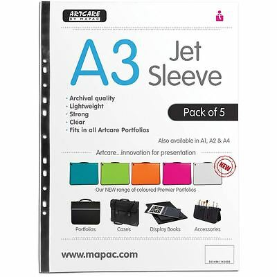 Mapac Jet Sleeve Pack A3 5 Pack For Portfolio Cases Folders Display Book Storage