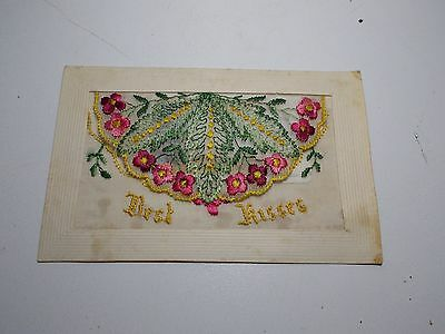 Antique Silk   Postcard Best Kisses With Insert Remember Me I'll Forget You Not