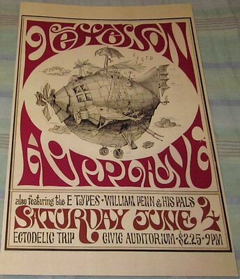 Jefferson Airplane/grace Slick 1967 Replica Concert Poster W/top Loader
