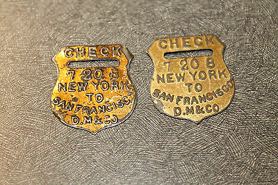 Lot of 2 CHECK 7 20 8 NEW YORK TO SAN FRANCISCO D. M&CO ANTIQUE TOBACCO TAG