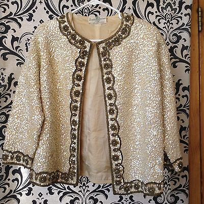 Vintage Gene Shelly's Beaded Wool Sequin Sweater