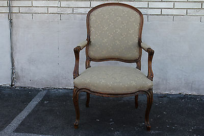 Elegant 19th C. French Louis XV Walnut Side, Accent Armchair, New Upholstery