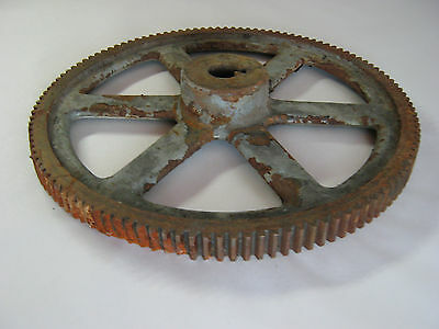 "Antique Large 15 3/16"" Heavy Cast Iron Factory Industrial Gear Steampunk"