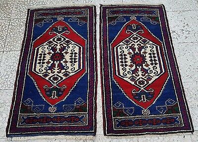 Pair of 2 Oushak Traditional Oriental Small Bedside Handmade Wool Rug Carpet