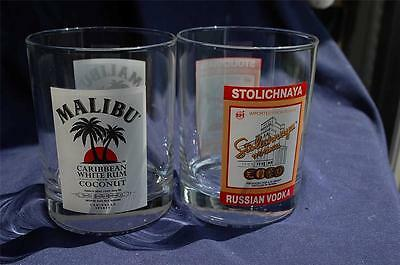 Stolichnaya Vodka & Malibu Rum Rocks Glasses Nice Pictured Logo Designs