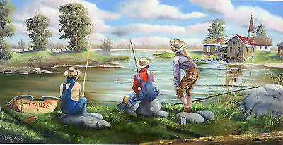REMEMBER WHEN Pack of 100 original lithograph prints wholesale resale fishing