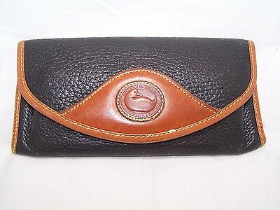 Dooney & Bourke AWL Blue Brown Eye Glass Case Belt Ban Divided Case