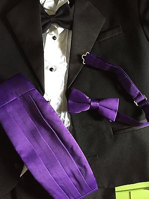 American Exchange Boy Bow tie Velcro Cummerbund Tuxedo Violet Purple Viola