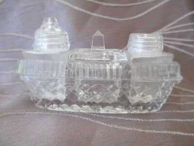 Cut Glass / Crystal Condiment Set - Ship Shaped