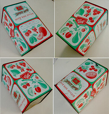 1950 Israel LITHO TIN CAN Jewish BOX Judaica KOSHER CANDIES Hebrew FRUITS Sweets