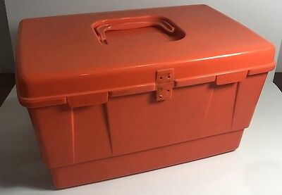 Retro Nally Ware Sewing Kit Box Case Carry All 70's ORANGE Awesome Colour