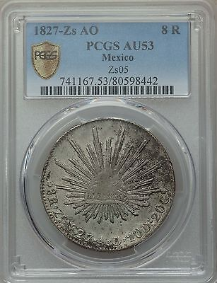 Mexico Republic 8 Reales 1827 Zs-AO PCGS AU53 scarce early date