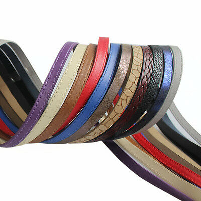 1Meter 10x2mm Flat Sewing Braided Imated PU Leather Cord For Bracelet Making
