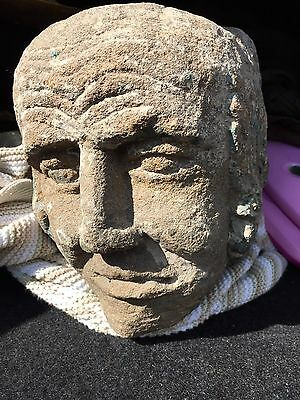 Genuine Rare Large Antique English Medieval Carved Stone Head Of A Man