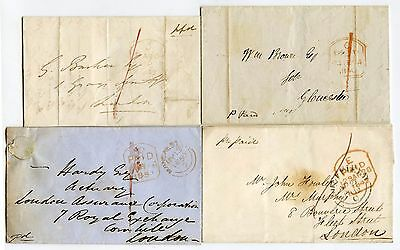 Gb 1840-1850 Tombstone Paid Handstamps 4 Wrappers Different Types