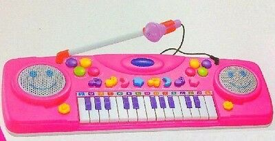 Electronic Organ Musical Instrument Keyboard Piano Kids Toy & Microphone Pink