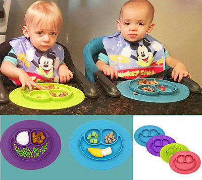 Silicone Mat Baby Kids Suction Table Food Tray Placemat Plate Bowl Happy Dish