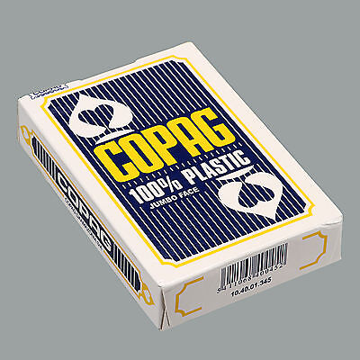 Genuine COPAG Poker Size Jumbo Face 100% Plastic Playing Cards Blue ~ One Deck