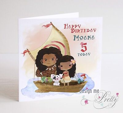 MOANA personalised Birthday Card - Girls Daughter Sister Disney 2 3 4 5 6 7