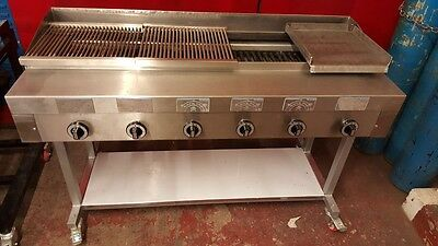 6 Burner Gas Char grill Charcoal Grill BBQ Grill+stand Natural/LPG. Large size