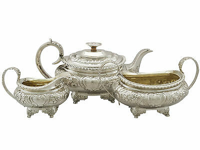 Antique Sterling Silver Three Piece Tea Set by Charles Thomas Fox