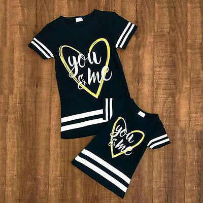 Couple T-shirts Toddler Baby Kids Girls Matching T-Shirt Family Clothes Tee Tops