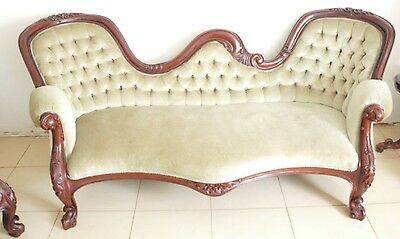 Victorian Style Solid Mahogany 3 Seat Chaise Lounge Sofa