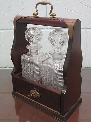 Georgian Style double Tantalus & Decanters Mahogany And Brass with Key