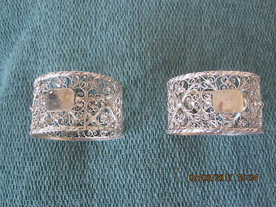 Pair Of Beautiful Filigree Napkin Rings - Probably Silver Plated