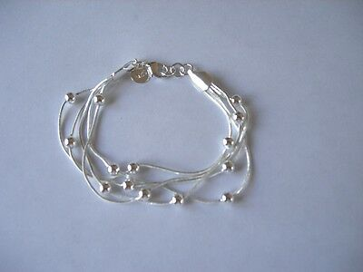 """925 Sterling Silver 7 """" 5 Chain Bracelet with Silver Balls + Free Gift Bag"""