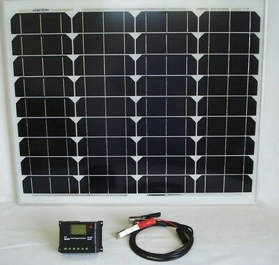 50W Monocrystalline Solar Panel Kit with 10A Solar Controller & 5 Metres Cable