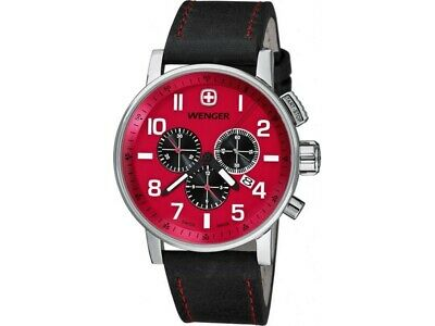 Wenger 01-1243-103 Attitude Men's Black Leather Bracelet With Red Dial NWT