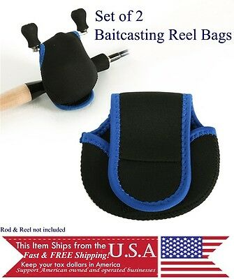 Baitcasting Neoprene Reel Bag for bait casting reels-lot of 2 protective pouches