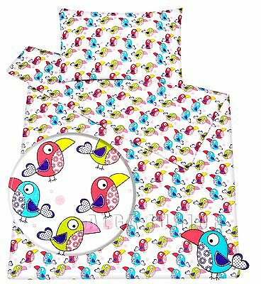 Baby toddler crib cot/ cot bed new set duvet cover pillowcase 100% cotton birds