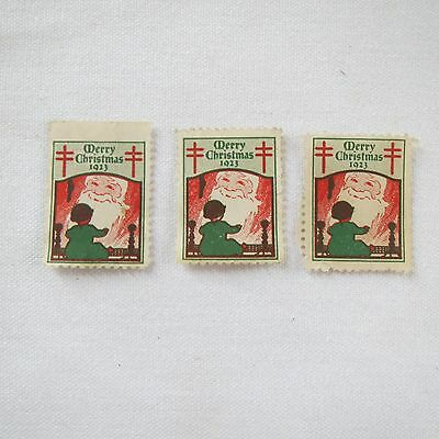 "3 Individual US~1923 Merry Christmas Seal ""American Lung Association"" Stamp MUH"
