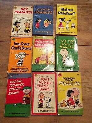 Lot of 9 Vintage Schultz Peanuts Paperback Comics-Crest Book 1960's