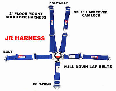 Youth Racing Harness Sfi 16.1 5 Point Cam Lock Floor Mount Seat Belt Cobalt Blue
