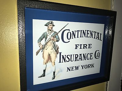 Continental Fire Insurance Agent Office Salesman Advertising Lighted Sign