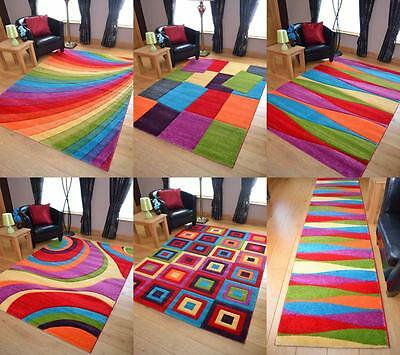 Large modern bright vibrant coloured soft thick carved rugs