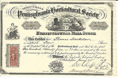 1867 PENNSYLVANIA Horticultural Society Stock Certificate #107 Phil Flower Show