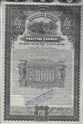 INDIANA 1903 Indiana Union Traction Company Bond Stock Certificate #17