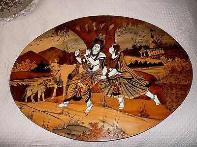 Very Large Oval Antique Inlaid Indian/asian Wooden Wall Plaque