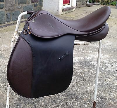 "GFS Junior Pro Brown English Leather GP Saddle 17"" WIDE Fit D-D 10"""